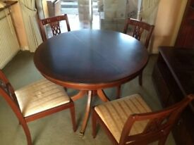 Quality dark wood dining table and chairs