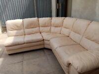 Cream Leather sofa 5 to 9 seater