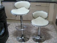 KITCHEN/BAR STOOLS X 2 - CREAM FAUX LEATHER