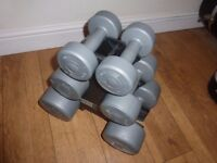 Set of six (3 pairs) plastic coated dumbells