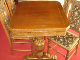 ANTIQUE - DRAW LEAF DINING ROOM TABLE & 6 high backed chairs,padded, studded ornate and carved,