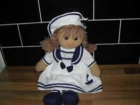 POWELL CRAFT 40cm RAG DOLL NEW 100% COTTON VARIOUS STYLES SAILOR GIRL