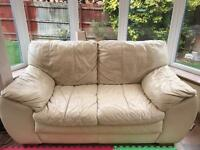 2-Seater Cream Leather Sofa