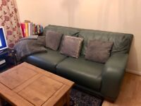 Leather 2 seater sofa and arm chair