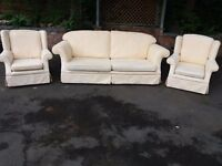 Fabric three pieces suite, settee, couch, sofa, single seater, chair (free local delivery)