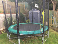 8ft x 8ft (B&Q) 8 Post Outdoor Trampoline with new safety net and recently replaced pad