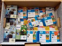 Box of mixed genuine HP & Epson ink & printhead - HP35, HP38, HP70, HP84, Epson T007, T009