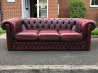 Lovely Oxblood Red Leather Chesterfield 3-Seater Sofa