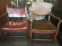 Rare Pair of Rustic Antique Oak & Leather Fireside Armchairs