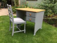 Lovely Pine DESK ...with matching upholstered CHAIR