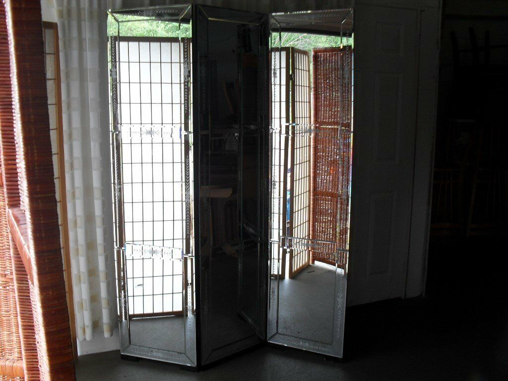 Full Height Etched Mirrored Three Panel Dressing Screen Room Divider