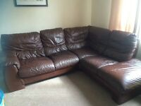 DFS brown leather Conor sofa