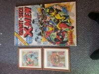 Giant Sized X-Men Large Canvas Picture & 2x Vintage Judge Dredd 2000AD Comics in Frames