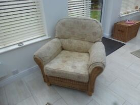 Conservatory Cane 3 piece suite Sofa and two chairs
