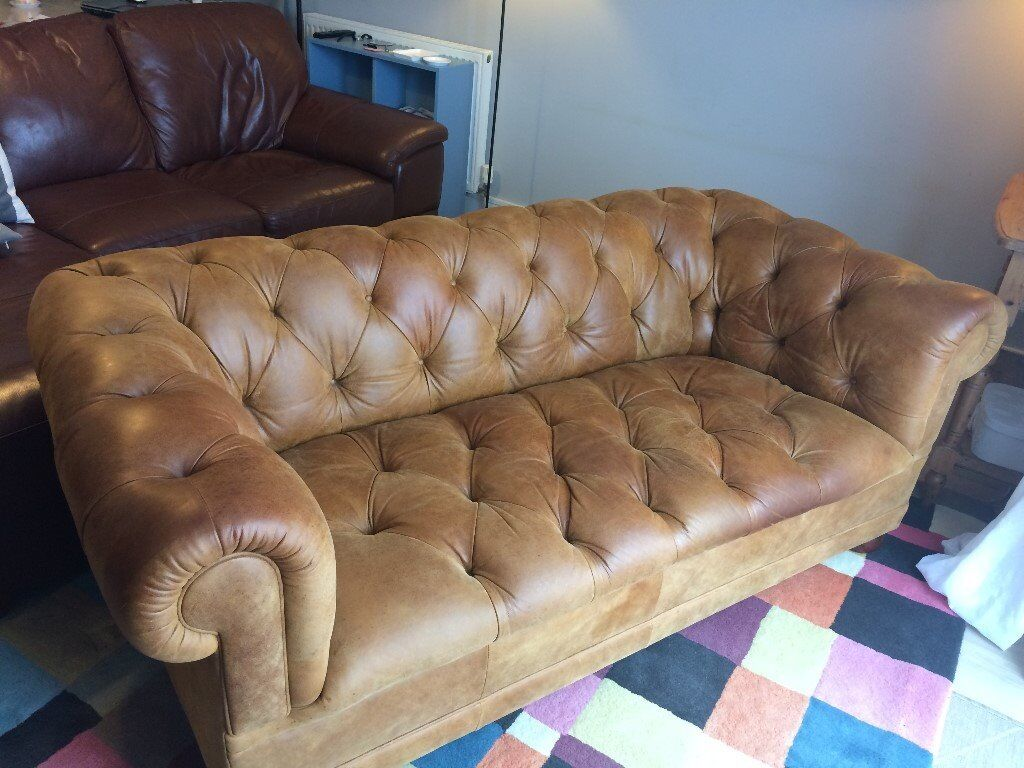 Laura Ashley Chesterfield Sofa In Top Quality Leather