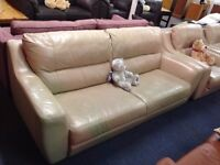 3 Piece Cream Leather Sofa