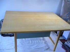 Large table in birch with sage green under table panel