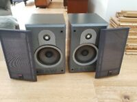 Pair of Bower and Wilkins B&W DM600 bookshelf speakers, black ash