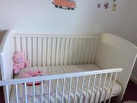 Mamas and Papas Hayworth Cotbed- Ivory with mattresses for twins