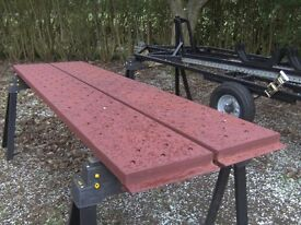 PAIR OF 9FT PAINTED STEEL TRAILER/TRUCK RAMPS AS NEW..