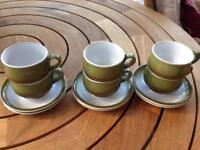 6 vintage Denby Rochester coffee cups and saucers as new