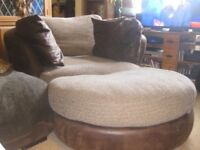 MADISON BROWN LEATHER CUDDLE CHAIR WITH MATCHING FOOT STALL