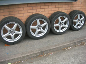"""Set of 4 17"""" MSW Alloy Wheels & Tyres by OZ KBA 46931 ExCond"""