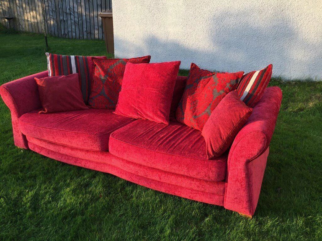 Excellent 1 Large And 1 Small Living Room Suite Sofas In Red Fabric See Photos In Inverness Highland Gumtree Pdpeps Interior Chair Design Pdpepsorg