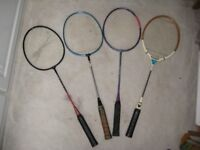 Two vintage badminton racquets, 5 blue plastic new/ used shuttles +2 racquet covers - see prices