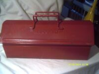 TOOL BOX , GOOD STRONG METAL CONSTRUCTION , with a LIFT OUT TRAY for SMALLER ITEMS