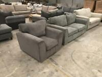 Brand new grey 3 seater sofa with matching armchair sofa