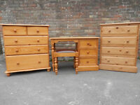 Small dressing table and matching chest of drawers + one similar