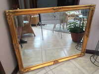 Large Vintage look Mirror, Gold edge, Excellent condition