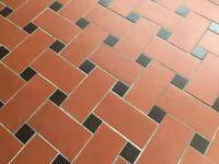 Ruabon quarry tiles: red 300x150, black 72x72 mm, total about 14.5 m2