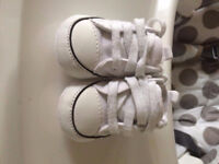 Baby White Converse All Star Trainers/Shoes, Size 1 / 0-6 months