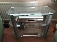 Silver TV stand. Excellent condition