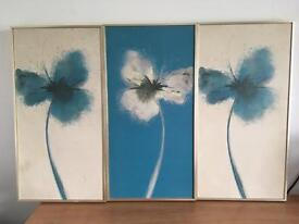 Cream and teal flower canvas'
