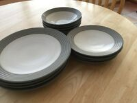 Denby stoneware 12 piece dinner set Grey/White