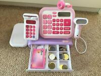 ELC Pink Cash Register with cash and credit card