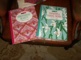 Two adult colouring books - ornamental beauty + flowers and floral