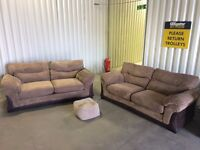 3 seater sofas in very good condition - cord brushed - with footstool // free delivery