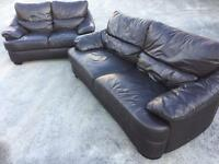 DARK BROWN 3 & 2 LEATHER SOFAS SUITE