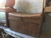 Antique Metal Steamer Trunk / Chest / W-R