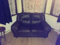 Real leather sofa set matching set of 2 and 3 seater
