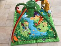 FISHER PRICE RAIN FOREST Deluxe Baby Gym Arch & Playmat with lights & sounds.