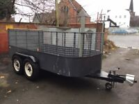 Heavy Duty Car Plant/Builders Trailer 12ft x 6ft Twin Axle on Land Rover Wheels & New Tyres