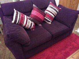 NEXT TWO SEAT SOFA, AND CHAIR , UPHOLSTRED IN DAMSON / PLUM VELVET, FROM THERE PREMIUM FABRIC RANGE