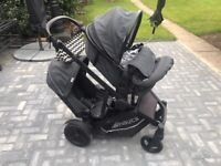 Double pram buggy for baby and toddler hauck