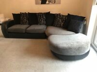 DFS 5 seat fabric corner sofa with cuddle chair. Great condition