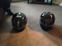 2 motor bike helmets